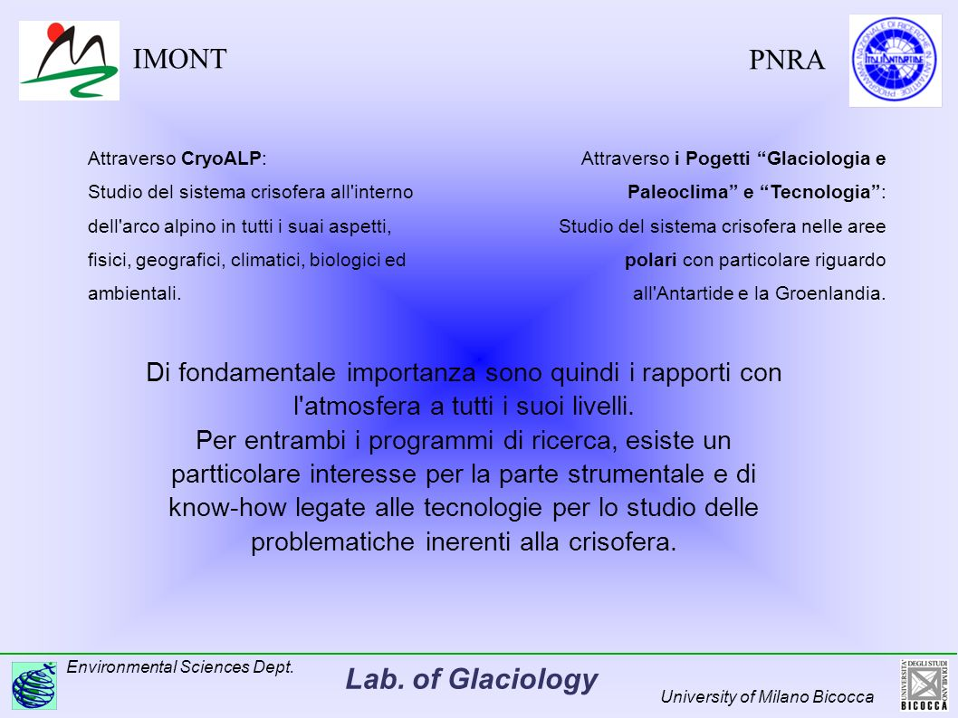 Lab.of Glaciology Environmental Sciences Dept.