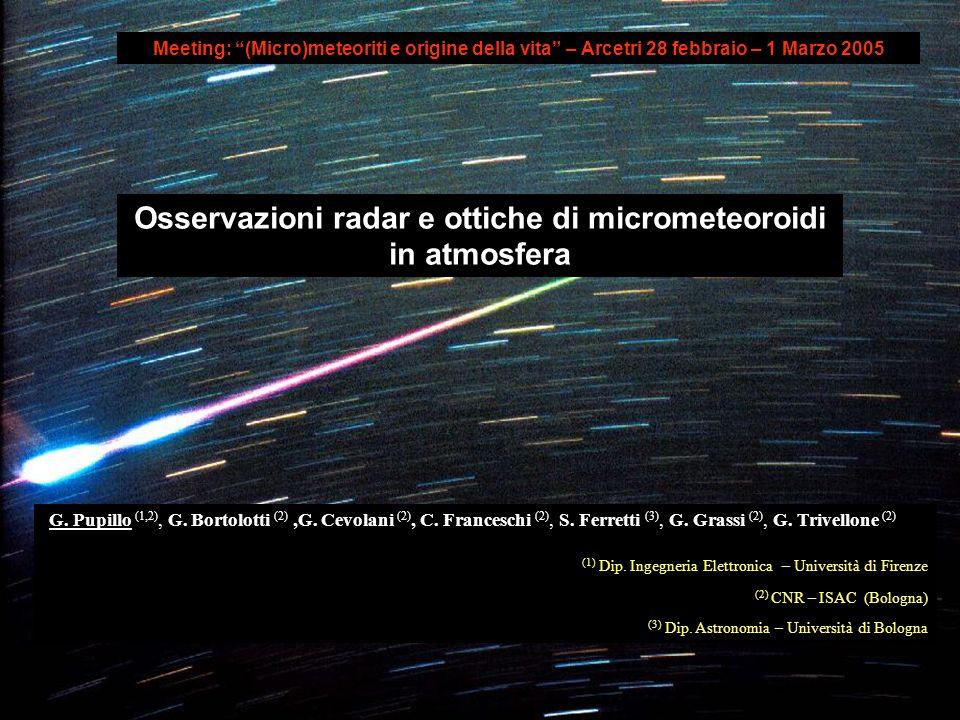G. Pupillo (1,2), G. Bortolotti (2),G. Cevolani (2), C. Franceschi (2), S. Ferretti (3), G. Grassi (2), G. Trivellone (2) (1) Dip. Ingegneria Elettron