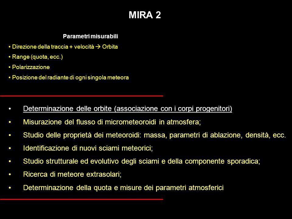 MIRA 2 Determinazione delle orbite (associazione con i corpi progenitori) Misurazione del flusso di micrometeoroidi in atmosfera; Studio delle proprie