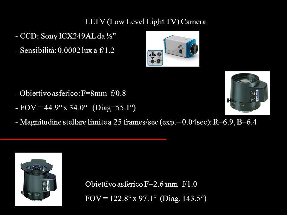 LLTV (Low Level Light TV) Camera - CCD: Sony ICX249AL da ½ - Sensibilità: 0.0002 lux a f/1.2 - Obiettivo asferico: F=8mm f/0.8 - FOV = 44.9° x 34.0° (