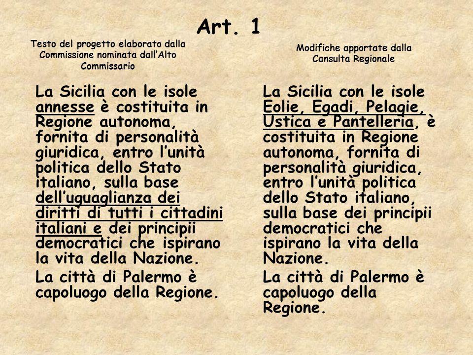 Art. 1 La Sicilia con le isole annesse è costituita in Regione autonoma, fornita di personalità giuridica, entro lunità politica dello Stato italiano,