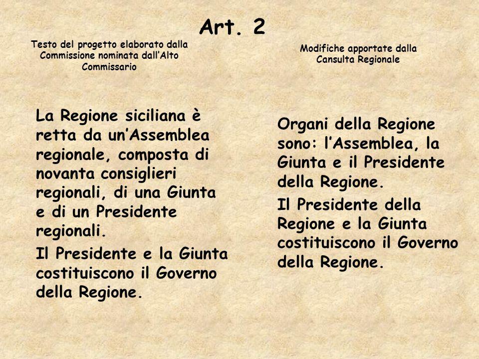 Art. 2 La Regione siciliana è retta da unAssemblea regionale, composta di novanta consiglieri regionali, di una Giunta e di un Presidente regionali. I