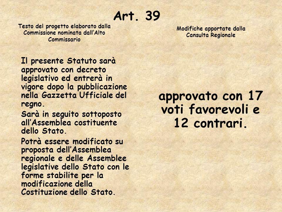 Art. 39 Il presente Statuto sarà approvato con decreto legislativo ed entrerà in vigore dopo la pubblicazione nella Gazzetta Ufficiale del regno. Sarà