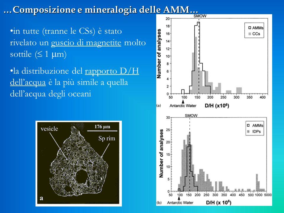 11 …Composizione e mineralogia delle AMM… in tutte (tranne le CSs) è stato rivelato un guscio di magnetite molto sottile ( 1 m) la distribuzione del r