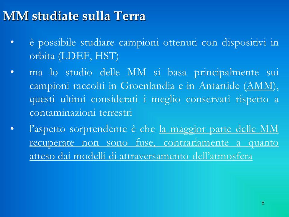 7 Composizione strutturale Composizione strutturale dallanalisi delle AMM MM fuse MM fuse – cosmic spherules trasformate in sferule dal passaggio in atmosfera (20%)
