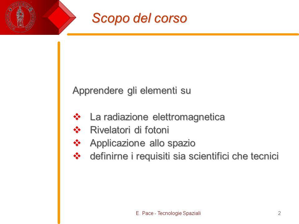 E. Pace - Tecnologie Spaziali2 Scopo del corso Apprendere gli elementi su La radiazione elettromagnetica La radiazione elettromagnetica Rivelatori di