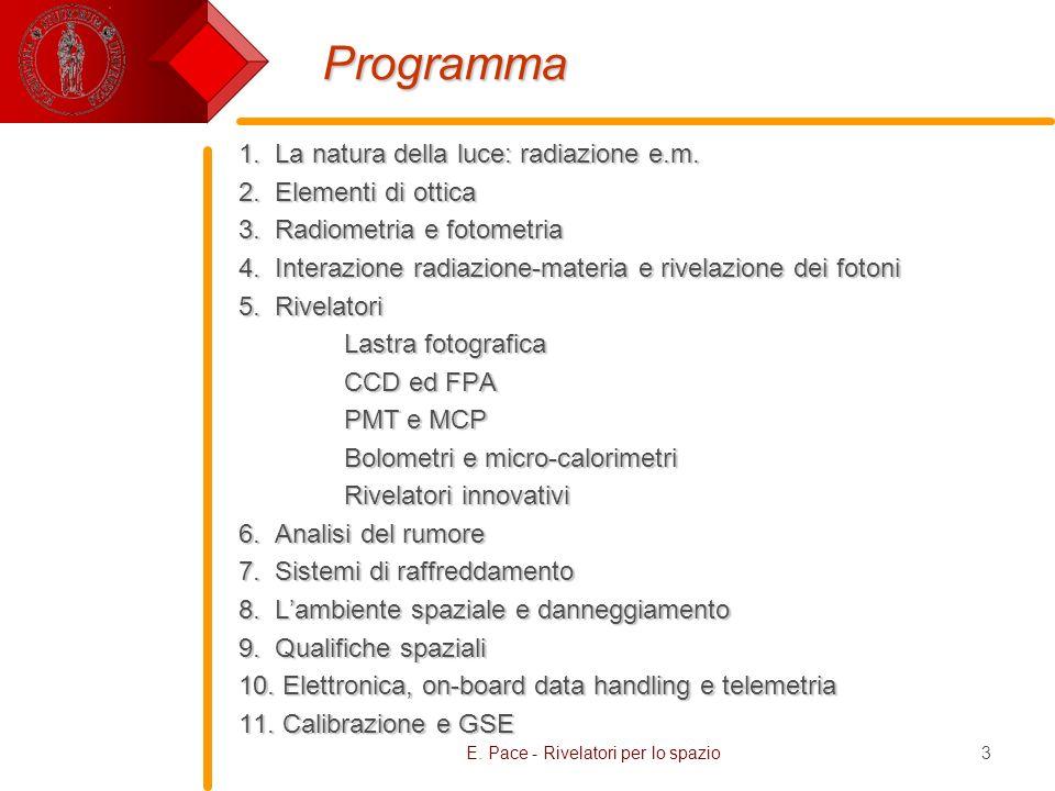 E. Pace - Rivelatori per lo spazio3 Programma 1. La natura della luce: radiazione e.m. 2. Elementi di ottica 3. Radiometria e fotometria 4. Interazion