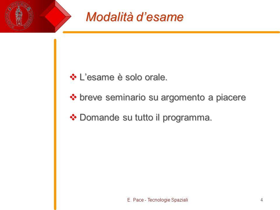 E. Pace - Tecnologie Spaziali4 Modalità desame Lesame è solo orale. Lesame è solo orale. breve seminario su argomento a piacere breve seminario su arg