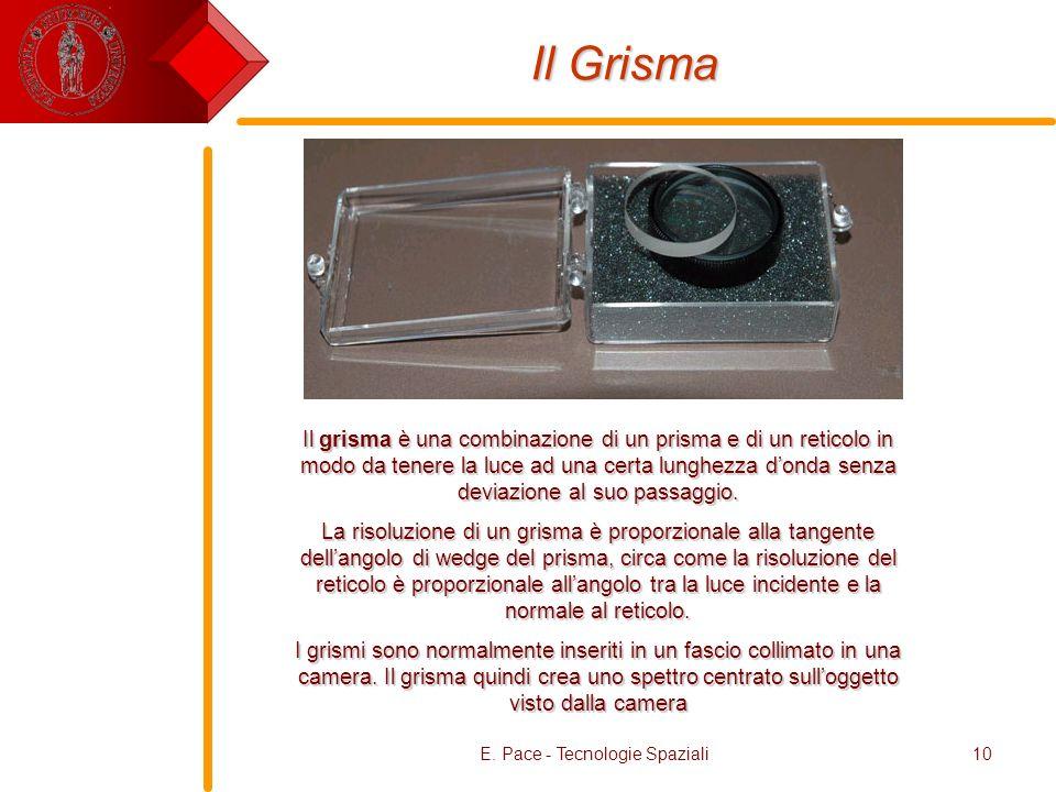 E. Pace - Tecnologie Spaziali10 Il Grisma Il grisma è una combinazione di un prisma e di un reticolo in modo da tenere la luce ad una certa lunghezza