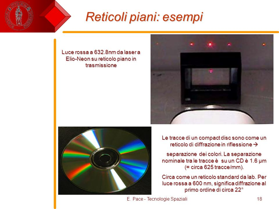 E. Pace - Tecnologie Spaziali18 Reticoli piani: esempi Le tracce di un compact disc sono come un reticolo di diffrazione in riflessione Le tracce di u