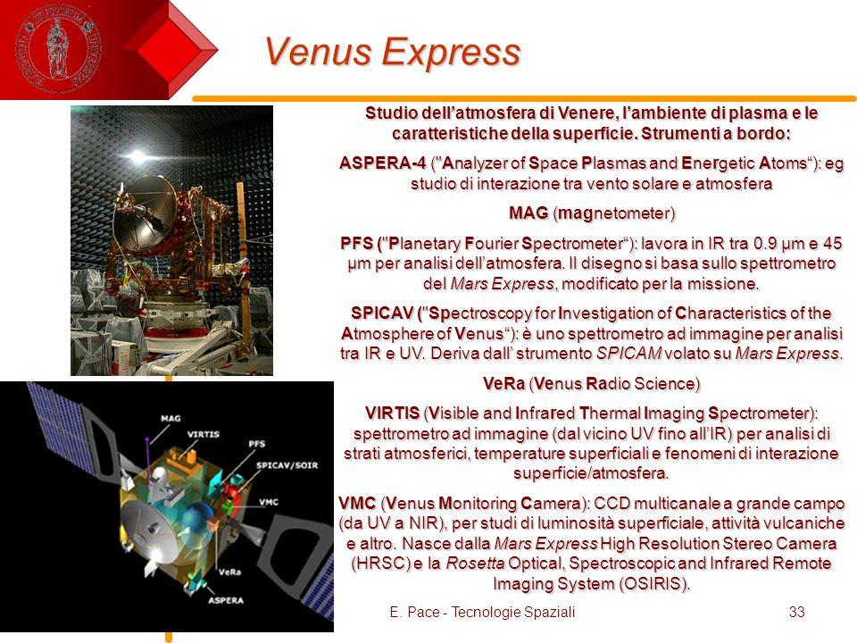 E. Pace - Tecnologie Spaziali33 Venus Express Studio dellatmosfera di Venere, lambiente di plasma e le caratteristiche della superficie. Strumenti a b