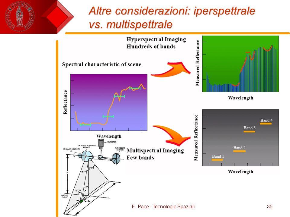 E. Pace - Tecnologie Spaziali35 Altre considerazioni: iperspettrale vs. multispettrale