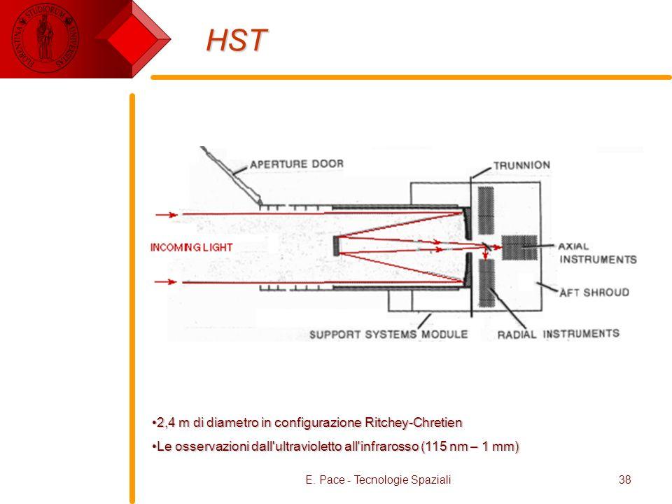 E. Pace - Tecnologie Spaziali38 HST 2,4 m di diametro in configurazione Ritchey-Chretien2,4 m di diametro in configurazione Ritchey-Chretien Le osserv