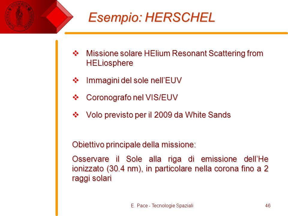 E. Pace - Tecnologie Spaziali46 Esempio: HERSCHEL Missione solare HElium Resonant Scattering from HELiosphere Missione solare HElium Resonant Scatteri