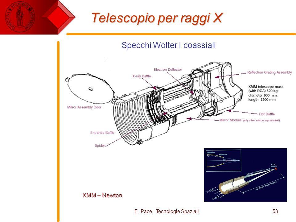 E. Pace - Tecnologie Spaziali53 Telescopio per raggi X XMM – Newton Specchi Wolter I coassiali