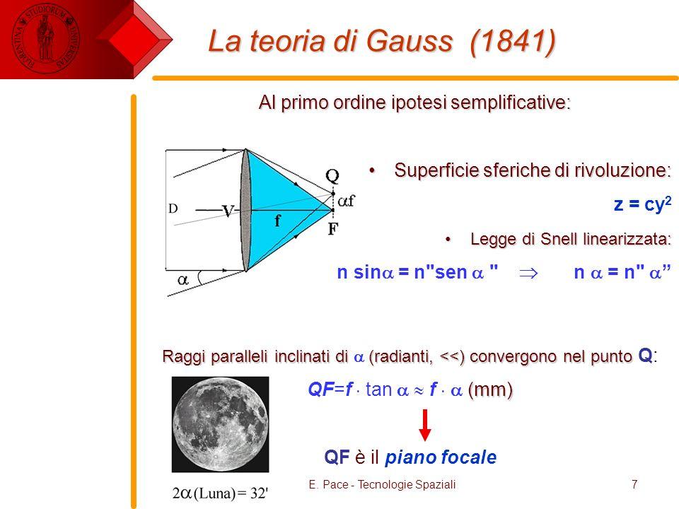 E. Pace - Tecnologie Spaziali7 La teoria di Gauss (1841) Al primo ordine ipotesi semplificative: Superficie sferiche di rivoluzione:Superficie sferich