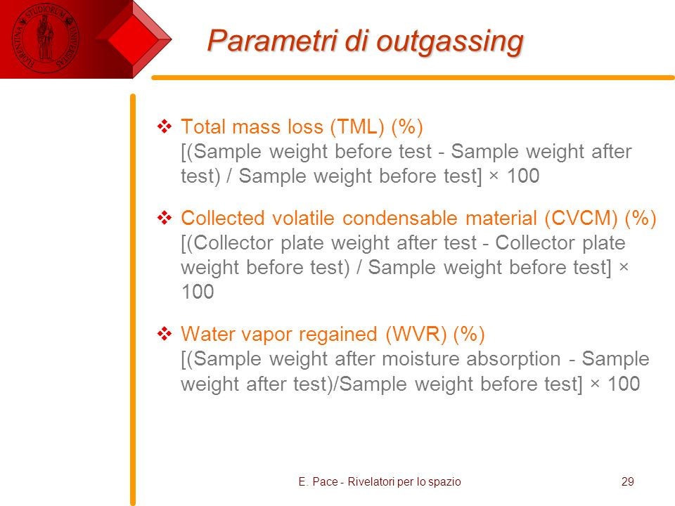 E. Pace - Rivelatori per lo spazio29 Parametri di outgassing Total mass loss (TML) (%) [(Sample weight before test - Sample weight after test) / Sampl
