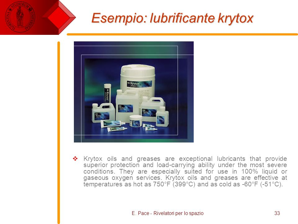 E. Pace - Rivelatori per lo spazio33 Esempio: lubrificante krytox Krytox oils and greases are exceptional lubricants that provide superior protection