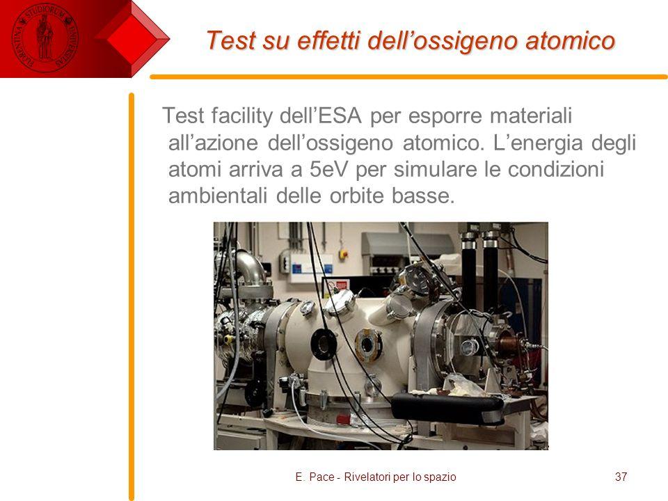 E. Pace - Rivelatori per lo spazio37 Test su effetti dellossigeno atomico Test facility dellESA per esporre materiali allazione dellossigeno atomico.