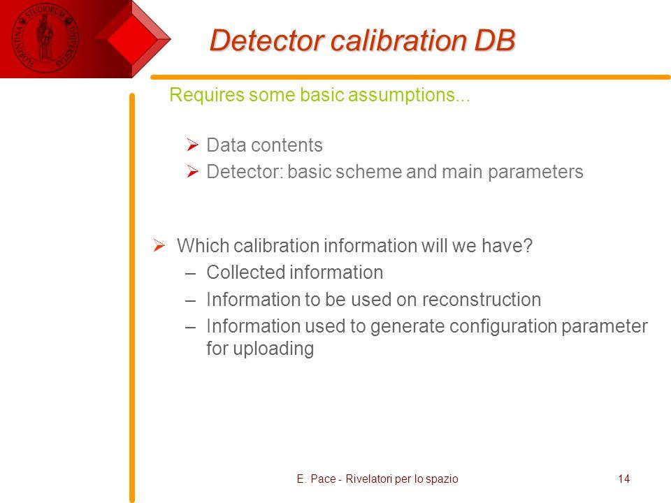 E. Pace - Rivelatori per lo spazio14 Detector calibration DB Data contents Detector: basic scheme and main parameters Which calibration information wi
