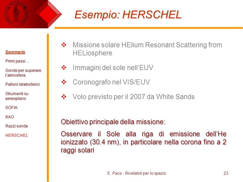 E. Pace - Rivelatori per lo spazio23 Esempio: HERSCHEL Missione solare HElium Resonant Scattering from HELiosphere Immagini del sole nellEUV Coronogra