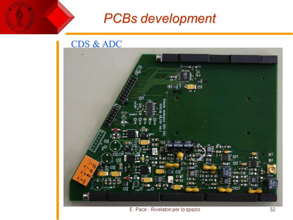 E. Pace - Rivelatori per lo spazio32 PCBs development CDS & ADC