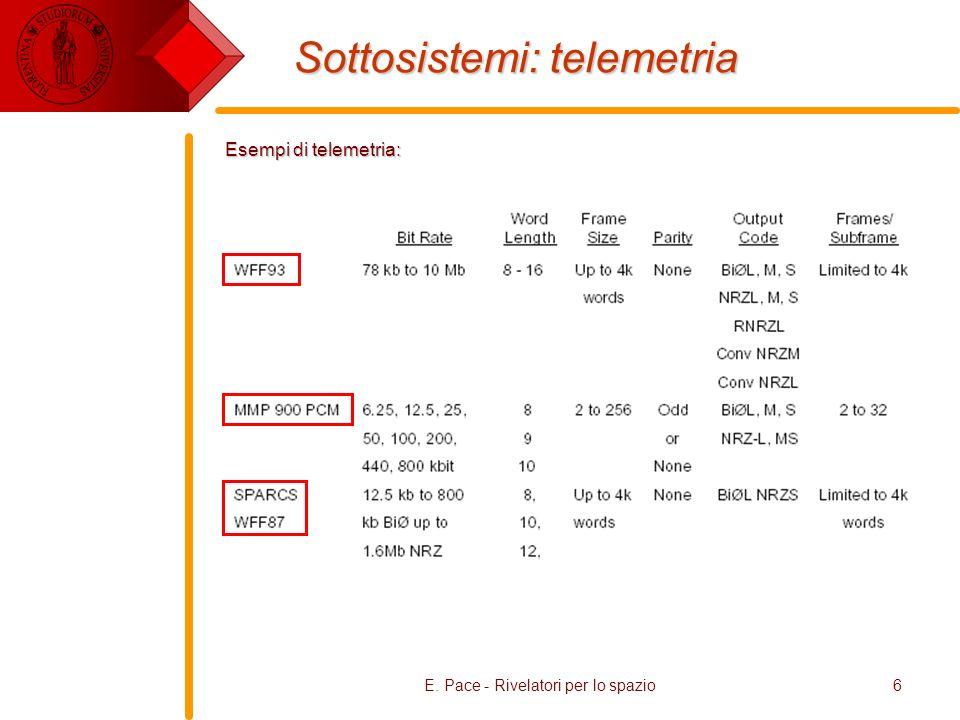 E. Pace - Rivelatori per lo spazio6 Sottosistemi: telemetria Esempi di telemetria:
