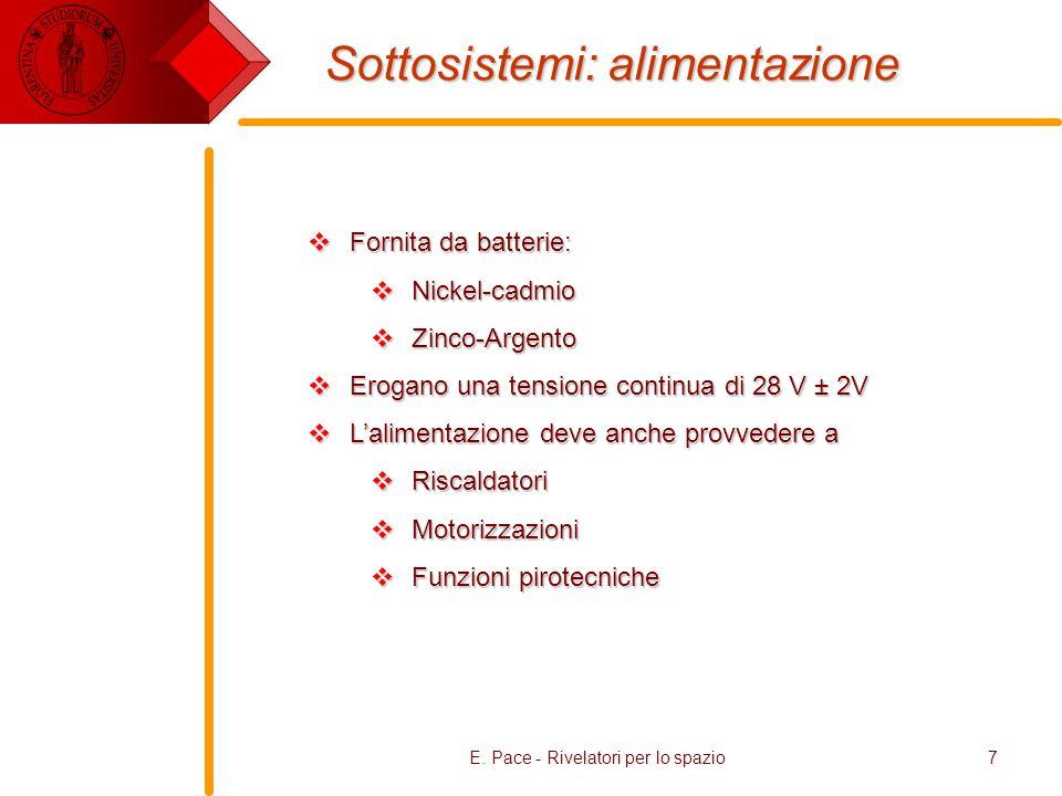 E. Pace - Rivelatori per lo spazio7 Sottosistemi: alimentazione Fornita da batterie: Fornita da batterie: Nickel-cadmio Nickel-cadmio Zinco-Argento Zi