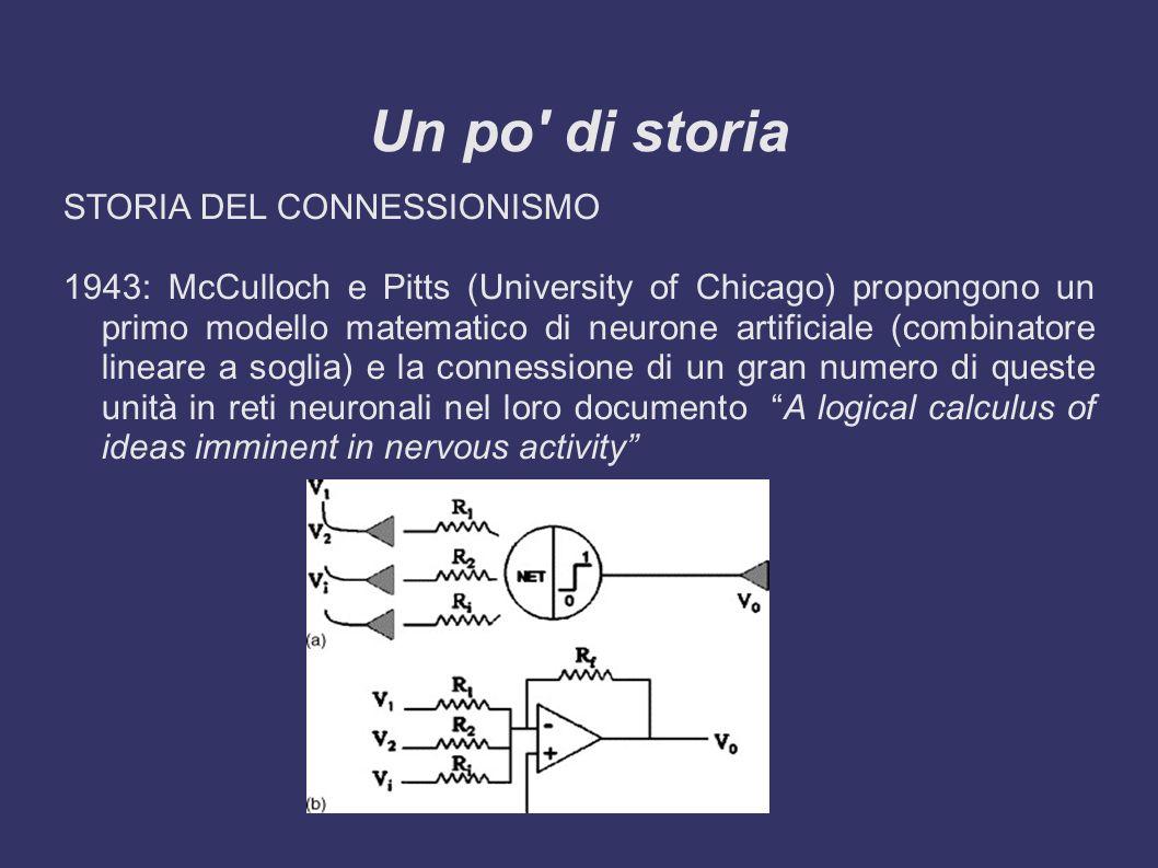 Un po di storia STORIA DEL CONNESSIONISMO 1943: McCulloch e Pitts (University of Chicago) descrivono il loro modello matematico di rete neuronale artificiale come costituita da N neuroni interconnessi in cui ognuno dei componenti ha le seguenti caratteristiche: E dotato di una soglia di eccitazione θ i Ad un determinato istante t si trova in un certo stato s i (t) Può essere eccitato da altri neuroni ai quali risulta connesso con intensità pari al peso sinaptico w ij