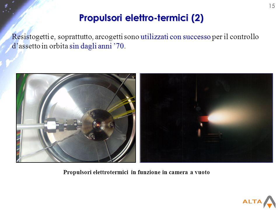 15 Propulsori elettrotermici in funzione in camera a vuoto Propulsori elettro-termici (2) utilizzati con successo sin dagli anni 70 Resistogetti e, so