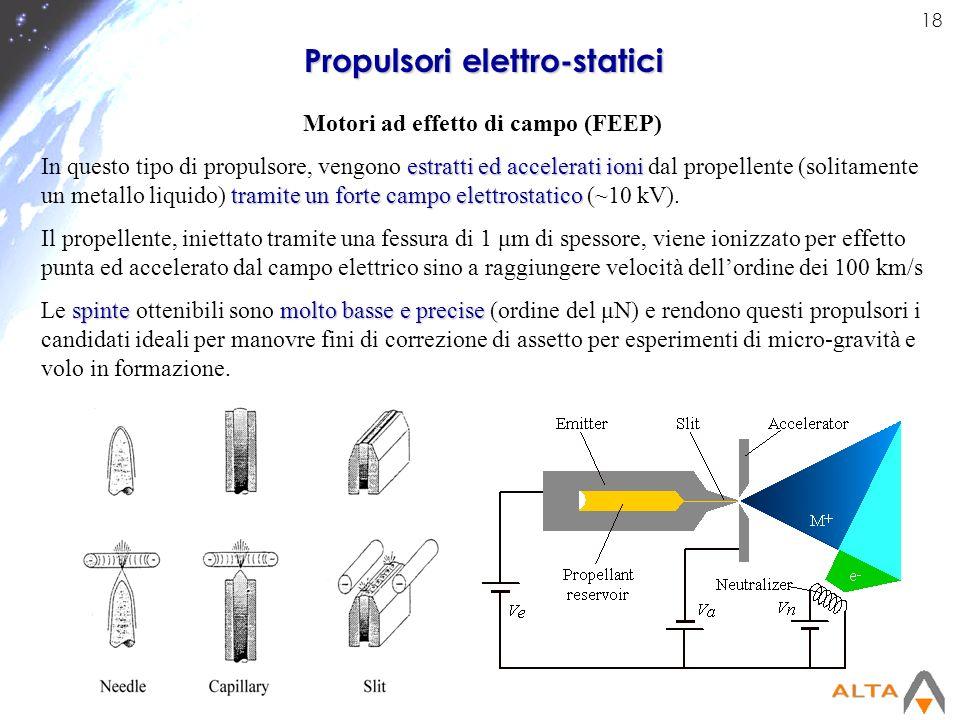 18 Propulsori elettro-statici Motori ad effetto di campo (FEEP) estratti ed accelerati ioni tramite un forte campo elettrostatico In questo tipo di pr