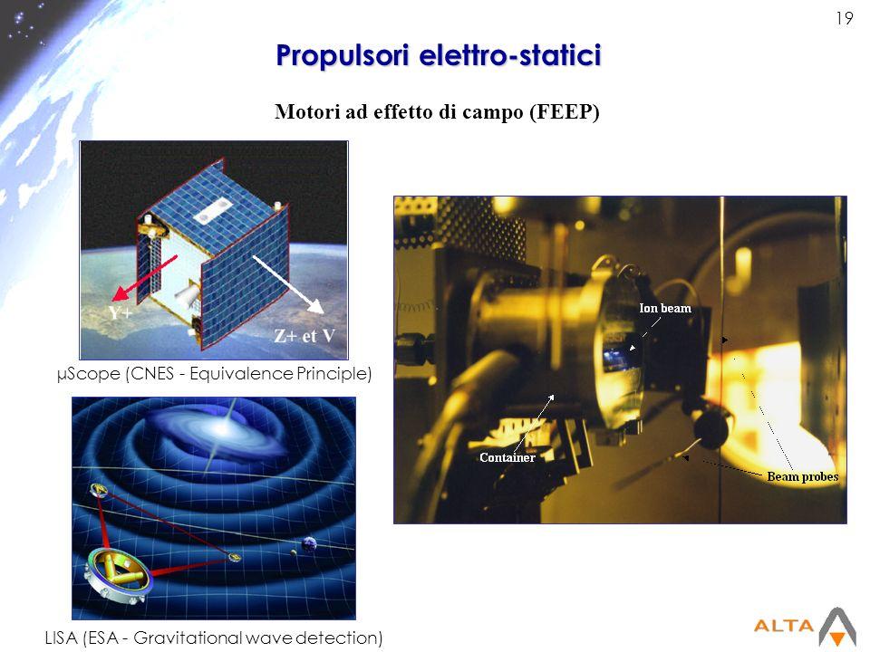 19 Propulsori elettro-statici Motori ad effetto di campo (FEEP) µScope (CNES - Equivalence Principle) LISA (ESA - Gravitational wave detection)