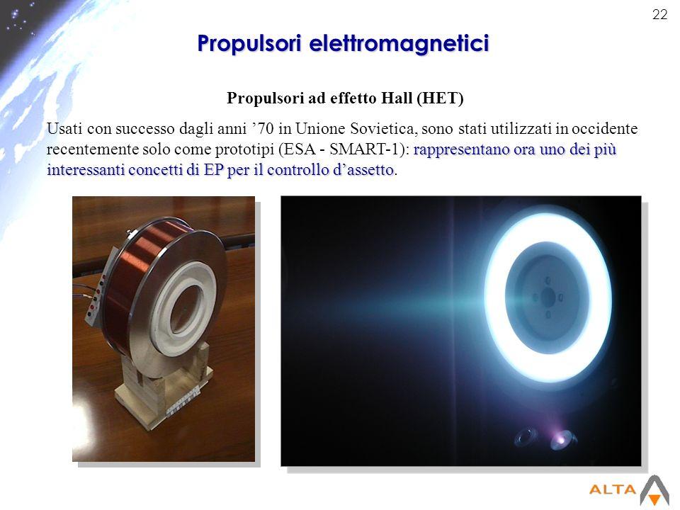 22 Propulsori elettromagnetici Propulsori ad effetto Hall (HET) rappresentano ora uno dei più interessanti concetti di EP per il controllo dassetto Us