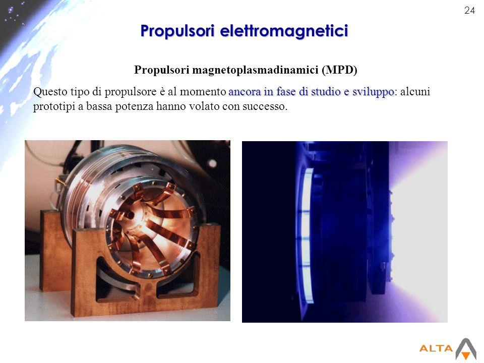24 Propulsori elettromagnetici Propulsori magnetoplasmadinamici (MPD) ancora in fase di studio e sviluppo Questo tipo di propulsore è al momento ancor