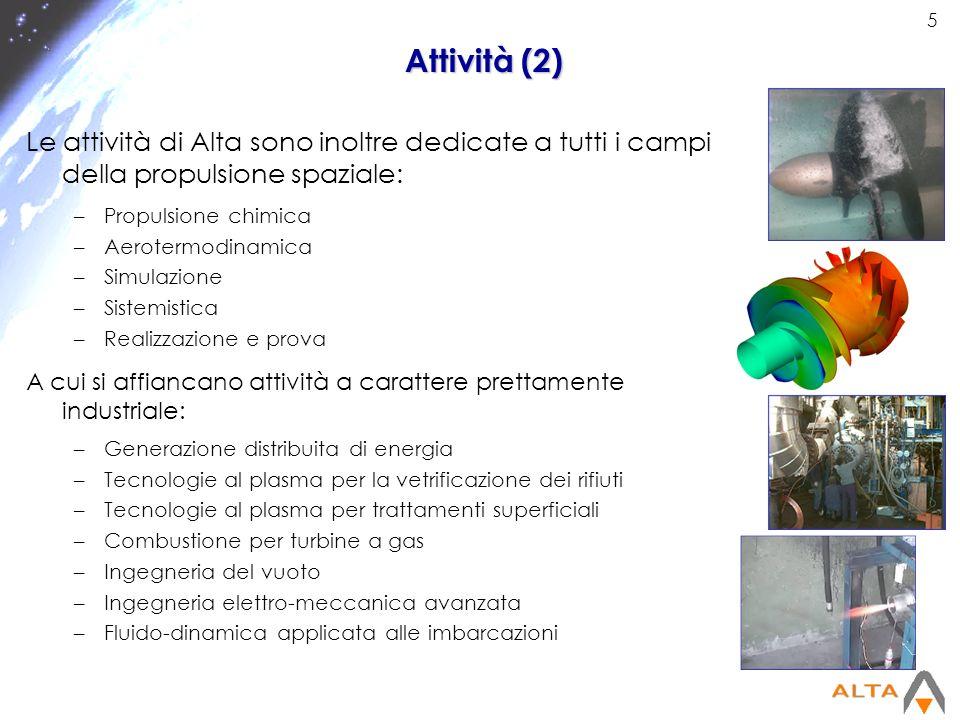 5 Attività (2) Le attività di Alta sono inoltre dedicate a tutti i campi della propulsione spaziale: –Propulsione chimica –Aerotermodinamica –Simulazi