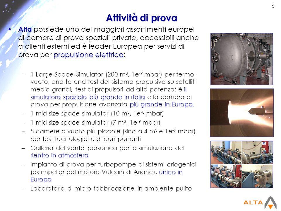 6 Attività di prova Alta propulsione elettrica Alta possiede uno dei maggiori assortimenti europei di camere di prova spaziali private, accessibili an