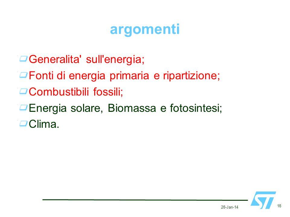 28-Jan-14 18 argomenti Generalita' sull'energia; Fonti di energia primaria e ripartizione; Combustibili fossili; Energia solare, Biomassa e fotosintes