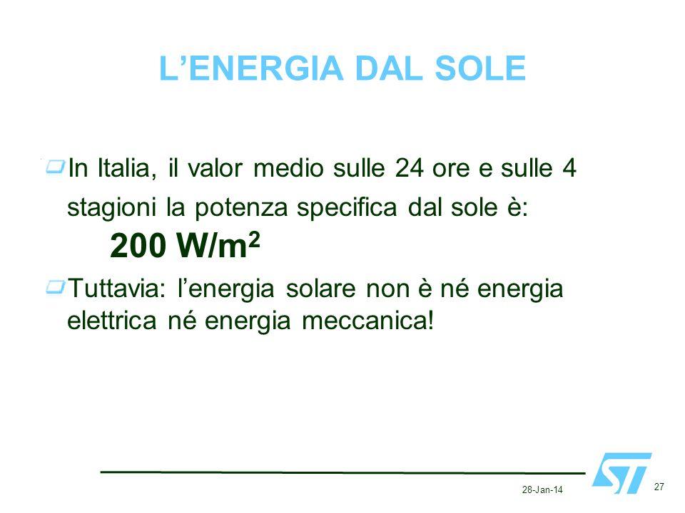 28-Jan-14 27 LENERGIA DAL SOLE In Italia, il valor medio sulle 24 ore e sulle 4 stagioni la potenza specifica dal sole è: 200 W/m 2 Tuttavia: lenergia