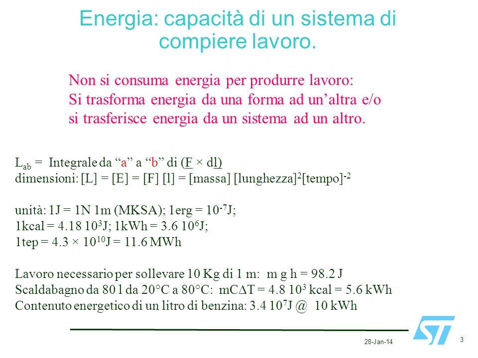 28-Jan-14 3 Energia: capacità di un sistema di compiere lavoro. Non si consuma energia per produrre lavoro: Si trasforma energia da una forma ad unalt