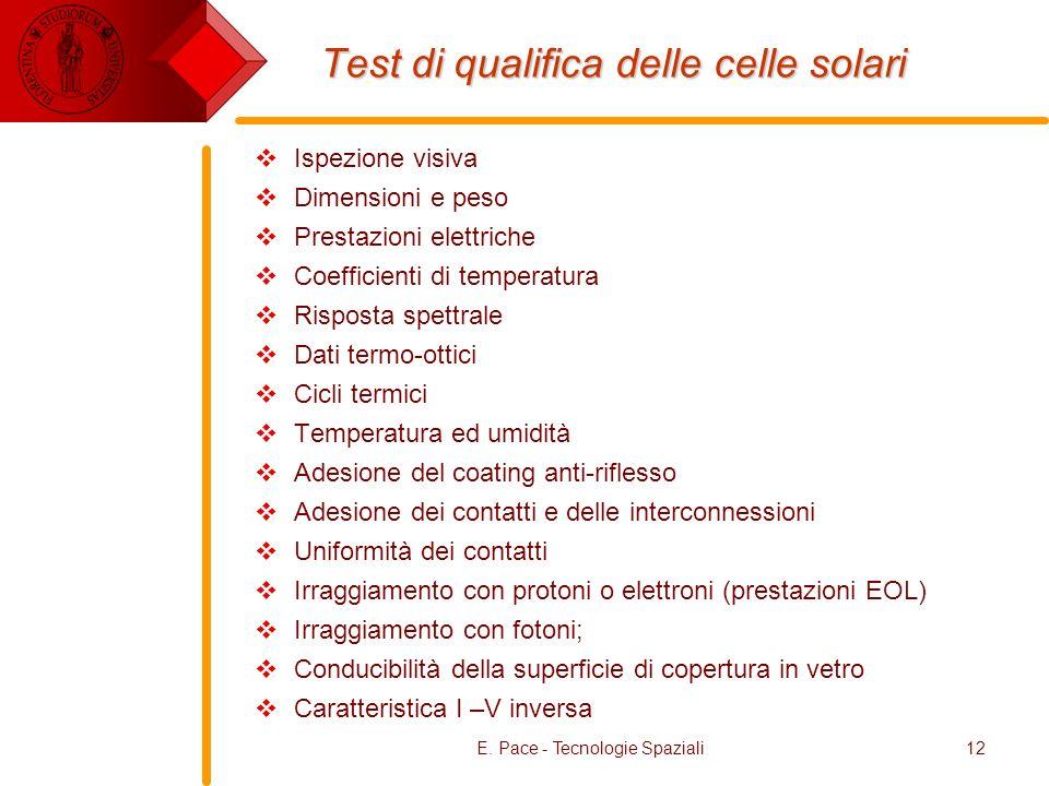 E. Pace - Tecnologie Spaziali12 Test di qualifica delle celle solari Ispezione visiva Dimensioni e peso Prestazioni elettriche Coefficienti di tempera