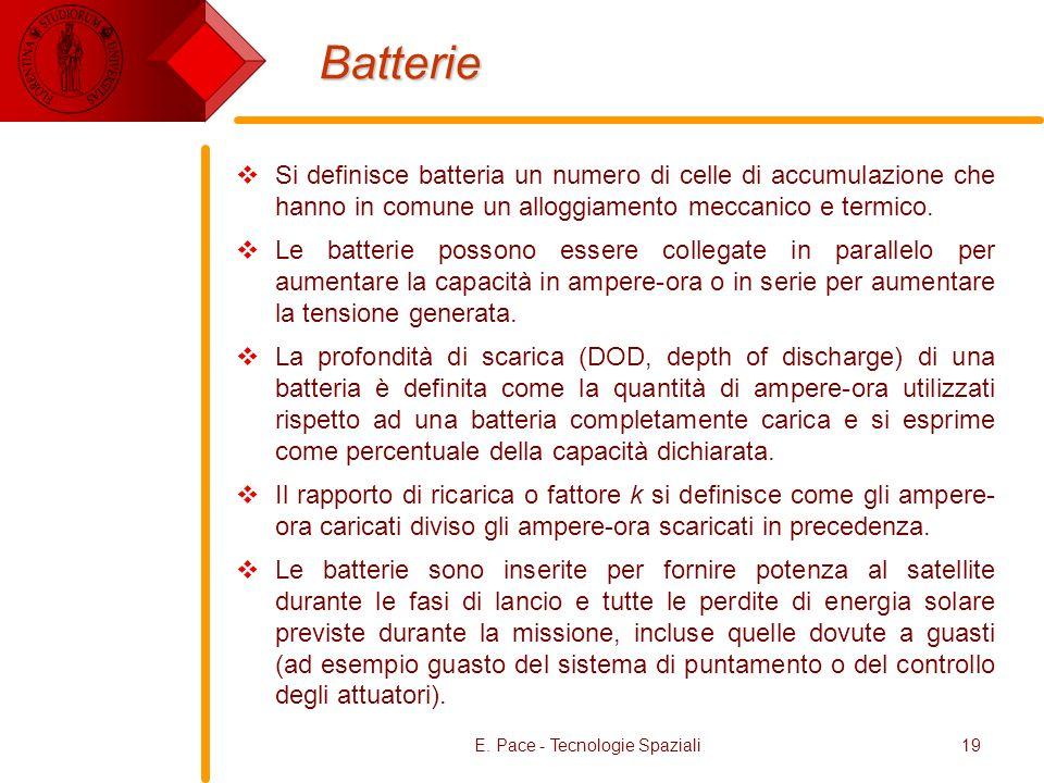 E. Pace - Tecnologie Spaziali19 Batterie Si definisce batteria un numero di celle di accumulazione che hanno in comune un alloggiamento meccanico e te