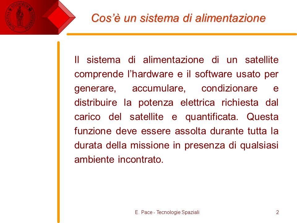 E. Pace - Tecnologie Spaziali2 Cosè un sistema di alimentazione Il sistema di alimentazione di un satellite comprende lhardware e il software usato pe