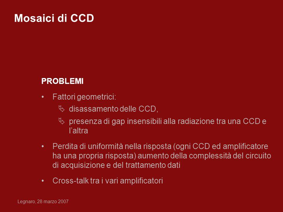 Legnaro, 28 marzo 2007 PROBLEMI Fattori geometrici: disassamento delle CCD, presenza di gap insensibili alla radiazione tra una CCD e laltra Perdita d