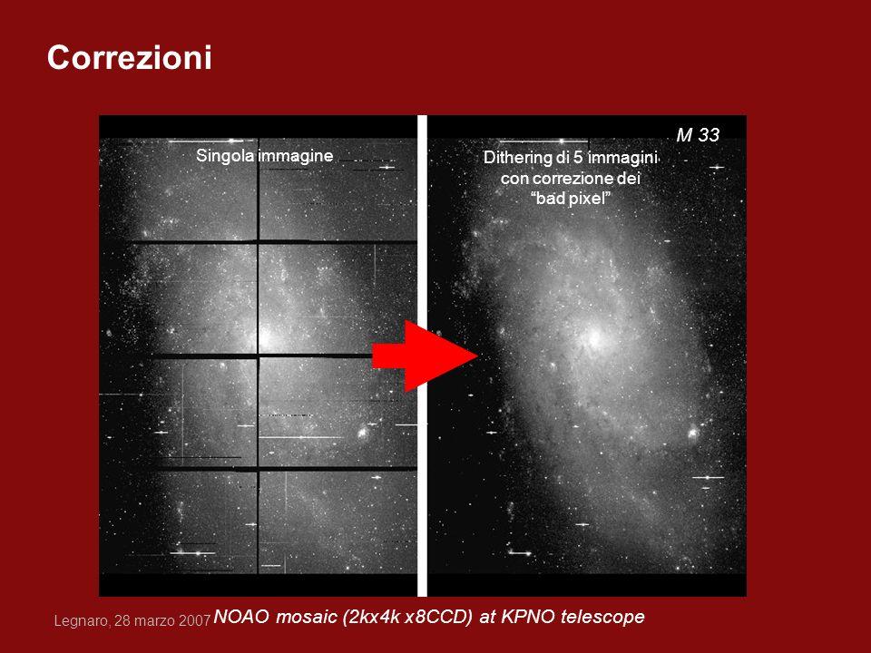 Legnaro, 28 marzo 2007 NOAO mosaic (2kx4k x8CCD) at KPNO telescope M 33 Singola immagine Dithering di 5 immagini con correzione dei bad pixel Correzio