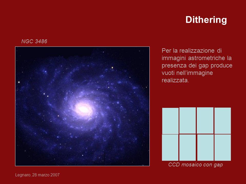 Legnaro, 28 marzo 2007 Per la realizzazione di immagini astrometriche la presenza dei gap produce vuoti nellimmagine realizzata. CCD mosaico con gap N