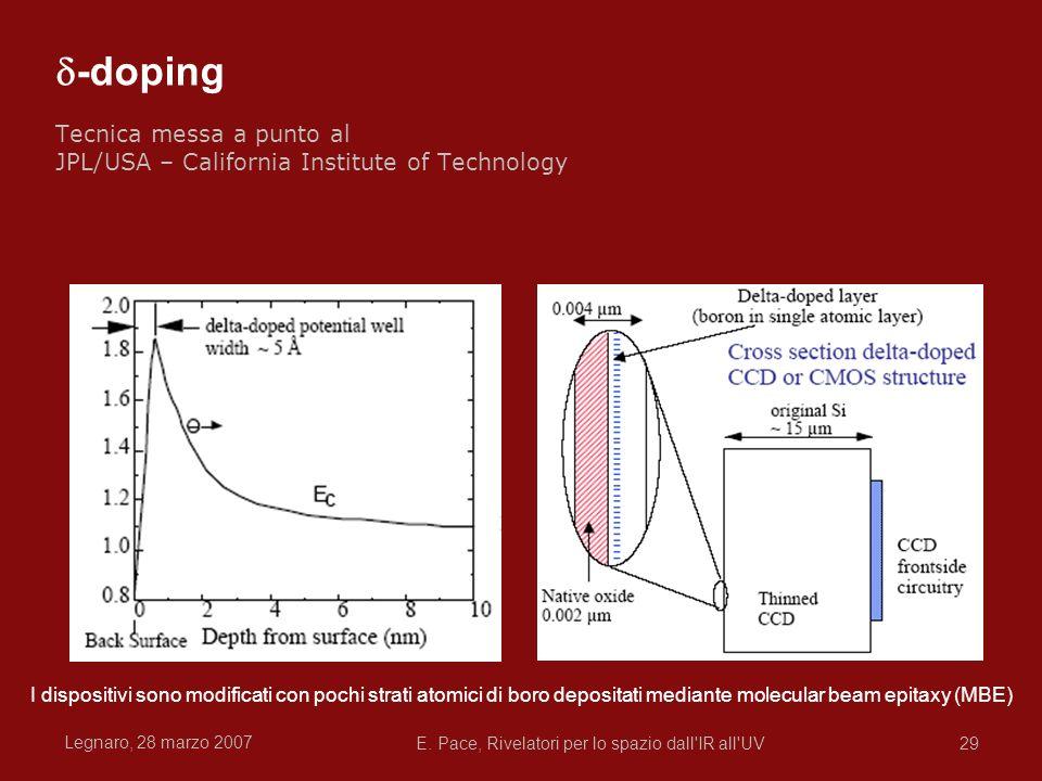 Legnaro, 28 marzo 2007 E. Pace, Rivelatori per lo spazio dall'IR all'UV29 -doping Tecnica messa a punto al JPL/USA – California Institute of Technolog
