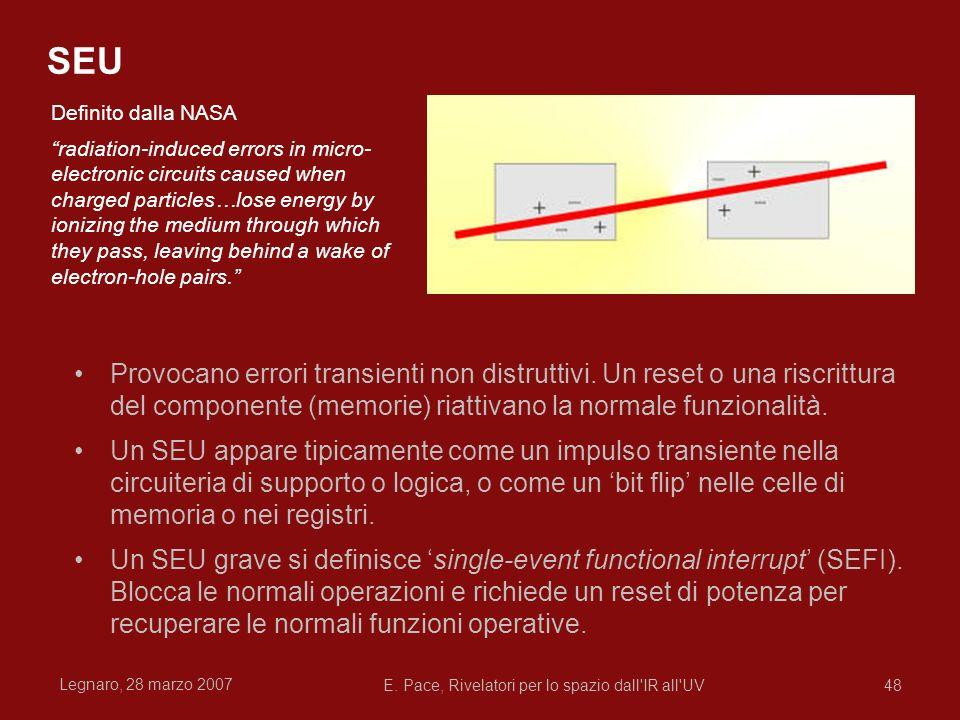 Legnaro, 28 marzo 2007 E. Pace, Rivelatori per lo spazio dall'IR all'UV48 SEU Provocano errori transienti non distruttivi. Un reset o una riscrittura