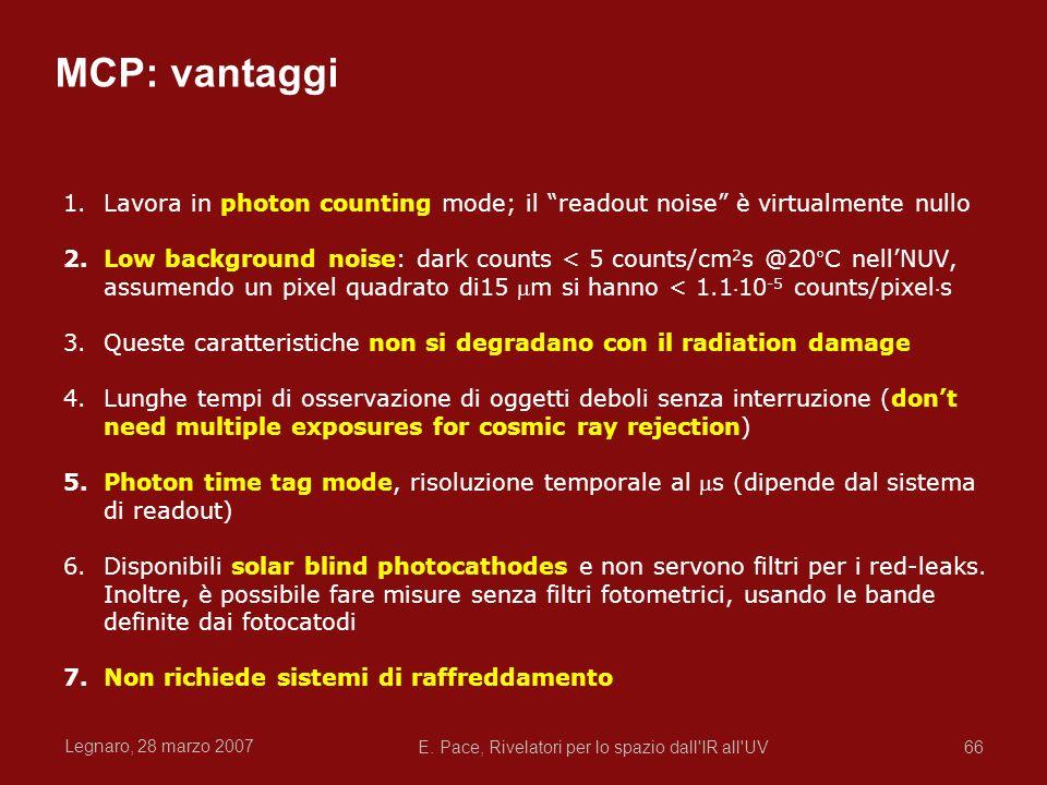 Legnaro, 28 marzo 2007 E. Pace, Rivelatori per lo spazio dall'IR all'UV66 MCP: vantaggi 1.Lavora in photon counting mode; il readout noise è virtualme