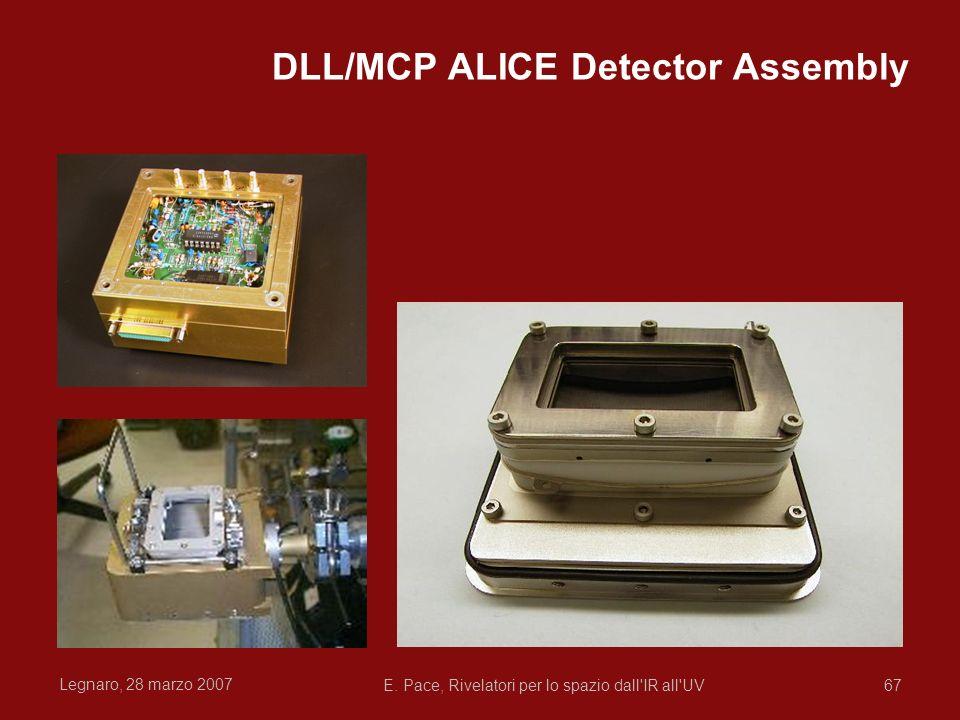 Legnaro, 28 marzo 2007 E. Pace, Rivelatori per lo spazio dall'IR all'UV67 DLL/MCP ALICE Detector Assembly