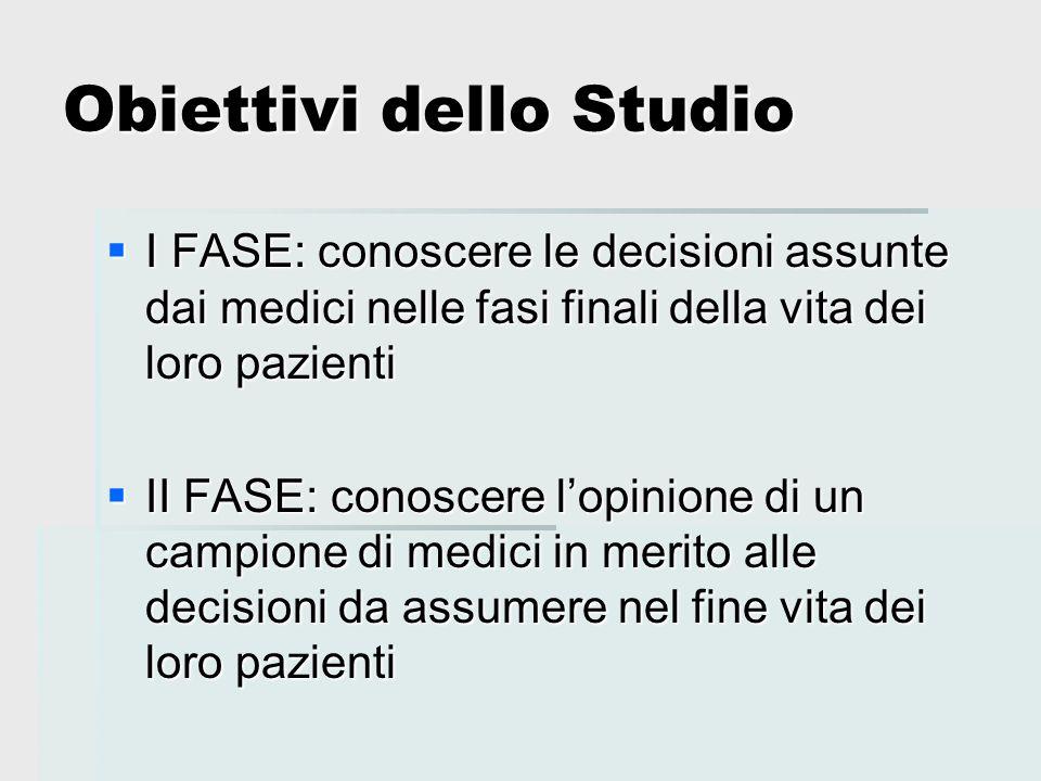 Obiettivi dello Studio I FASE: conoscere le decisioni assunte dai medici nelle fasi finali della vita dei loro pazienti I FASE: conoscere le decisioni